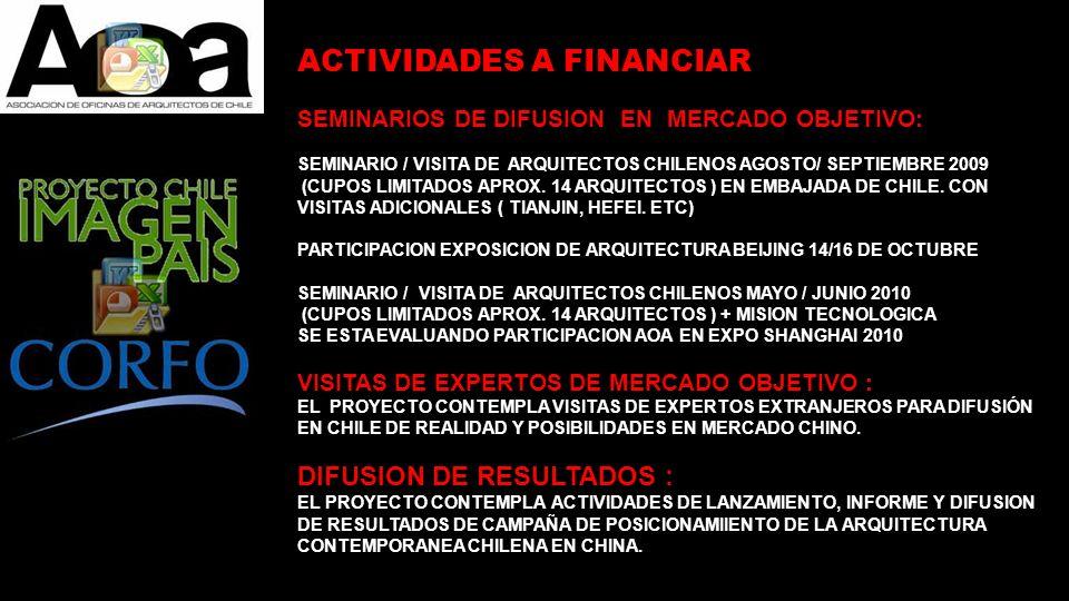 DIFUSION DE ARQUITECTURA CHILENA CONTEMPORANEA: POSICIONAMIENTO DE LA MARCA Y VENTAJAS COMPARATIVAS DE LA ARQUITECTURA CHILE CONTEMPORANEA COMO IMAGEN PAIS - SEMINARIO EXPO EMBAJADA CHILE AGOSTO 2009 ( VIAJE 14 ARQUITECTOS) - EXPOSICION DE ARQUITECTURA BEIJING 14/16 OCTUBRE http://www.iae-china.com/jzcl/index.htm - EVENTUAL PARTICIPACION EN EXPO MUNDIAL SHANGHAI 2010 (VIAJE 14 ARQUITECTOS + MISION TECNOLOGICA) - PUBLICACION PROYECTOS EN REVISTA AOA TRILINGUE - PUBLICACION ANUARIO 2009 TRILINGUE - COBERTURA DE PRENSA CHINA - PAGINA WEB INGLES Y CHINO ACTIVIDADES QUE PODRIAN SERVIR DE PLATAFORMA DE DIFUSION A CONSORCIO CHINA AUTOFINANCIADO