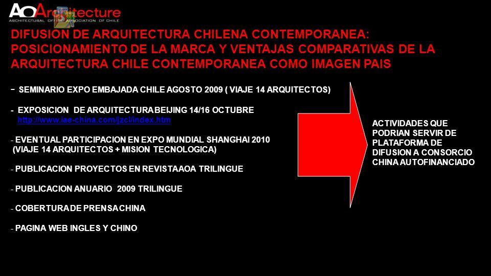 DIFUSION DE ARQUITECTURA CHILENA CONTEMPORANEA: POSICIONAMIENTO DE LA MARCA Y VENTAJAS COMPARATIVAS DE LA ARQUITECTURA CHILE CONTEMPORANEA COMO IMAGEN