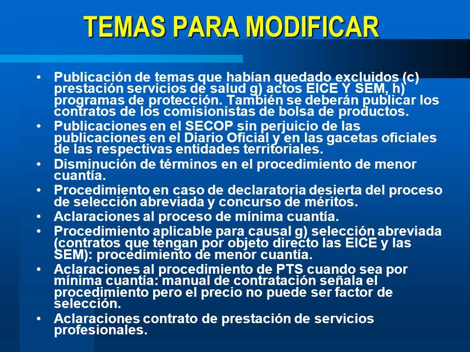 TEMAS PARA MODIFICAR Publicación de temas que habían quedado excluidos (c) prestación servicios de salud g) actos EICE Y SEM, h) programas de protecci