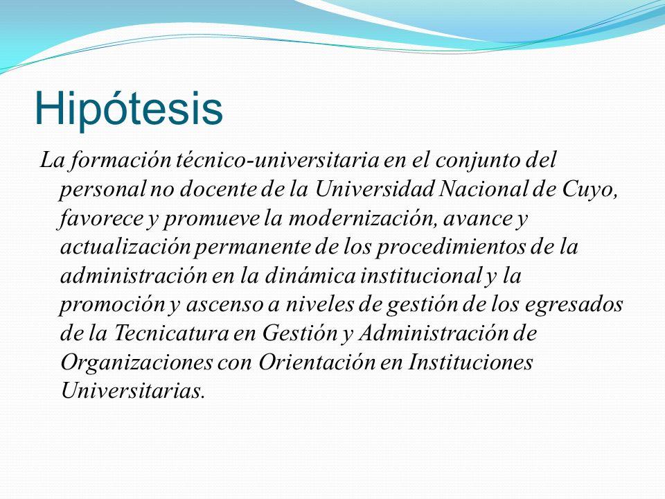 Hipótesis La formación técnico-universitaria en el conjunto del personal no docente de la Universidad Nacional de Cuyo, favorece y promueve la moderni