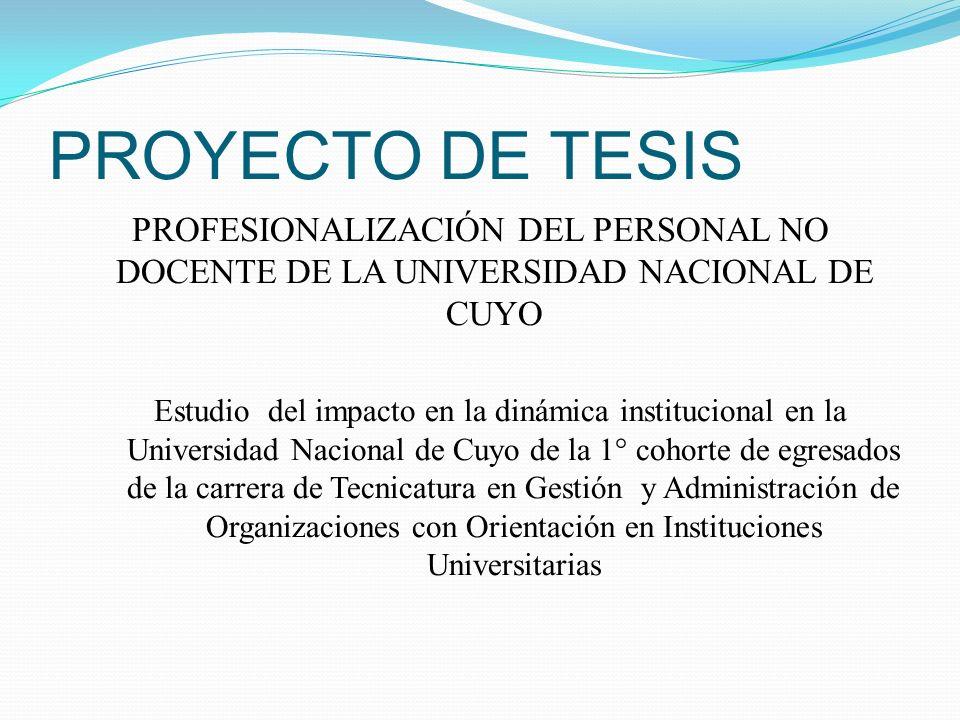 PROYECTO DE TESIS PROFESIONALIZACIÓN DEL PERSONAL NO DOCENTE DE LA UNIVERSIDAD NACIONAL DE CUYO Estudio del impacto en la dinámica institucional en la