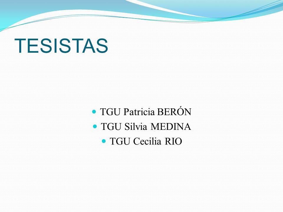 TESISTAS TGU Patricia BERÓN TGU Silvia MEDINA TGU Cecilia RIO