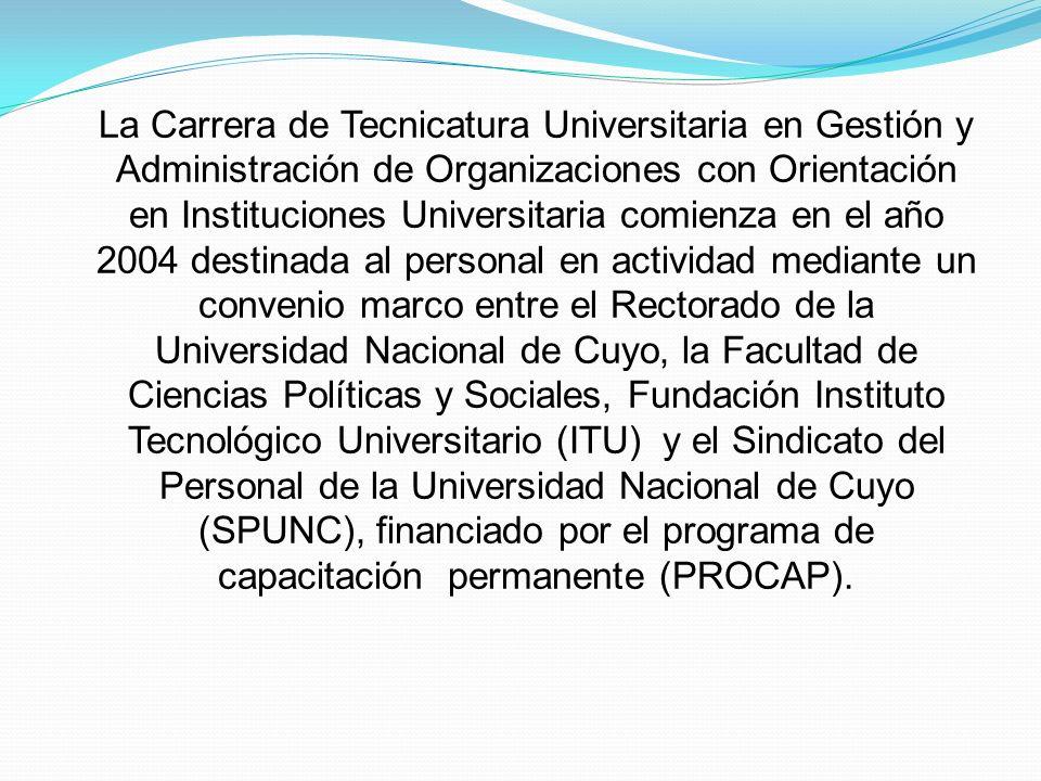 La Carrera de Tecnicatura Universitaria en Gestión y Administración de Organizaciones con Orientación en Instituciones Universitaria comienza en el añ
