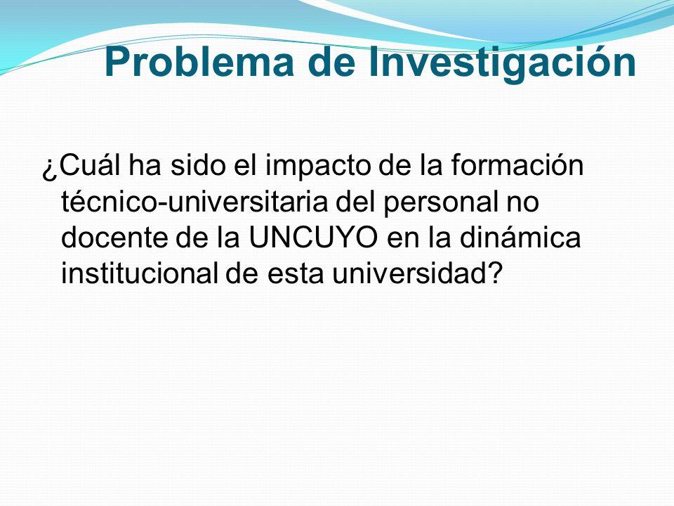 Problema de Investigación ¿Cuál ha sido el impacto de la formación técnico-universitaria del personal no docente de la UNCUYO en la dinámica institucional de esta universidad?