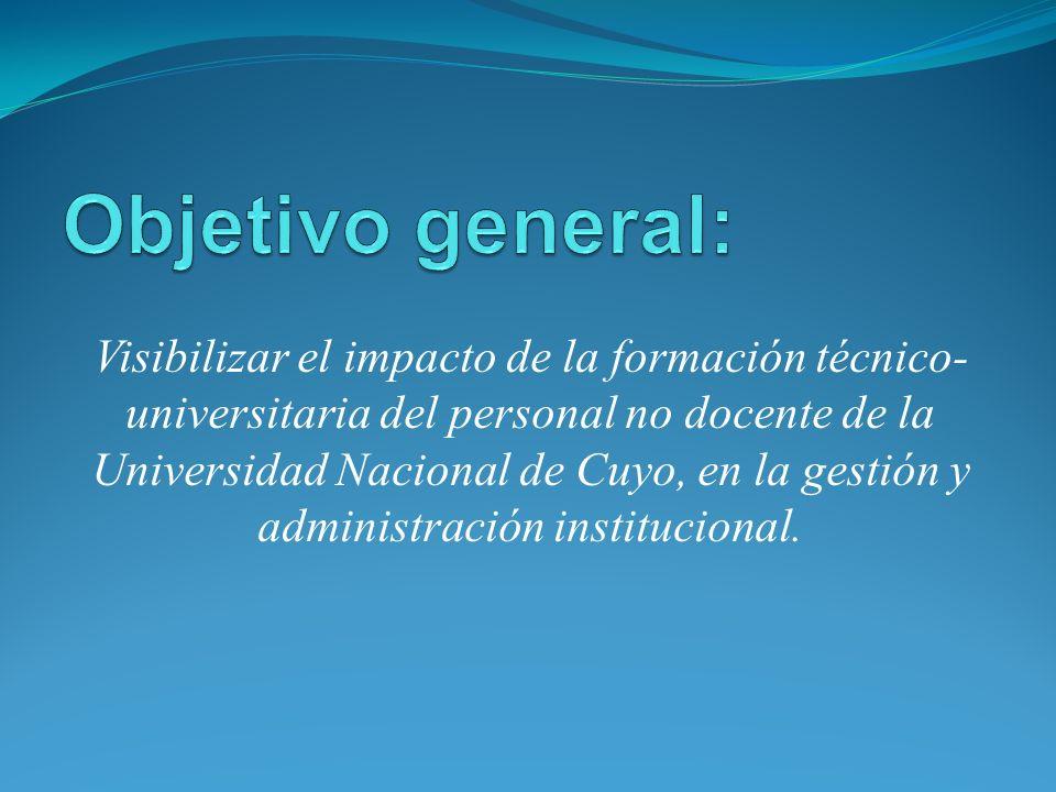 Visibilizar el impacto de la formación técnico- universitaria del personal no docente de la Universidad Nacional de Cuyo, en la gestión y administración institucional.
