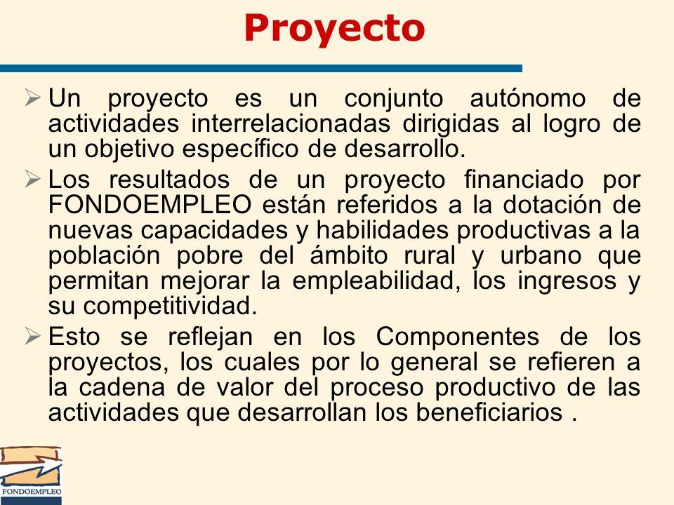 Proyecto Un proyecto es un conjunto autónomo de actividades interrelacionadas dirigidas al logro de un objetivo específico de desarrollo. Los resultad