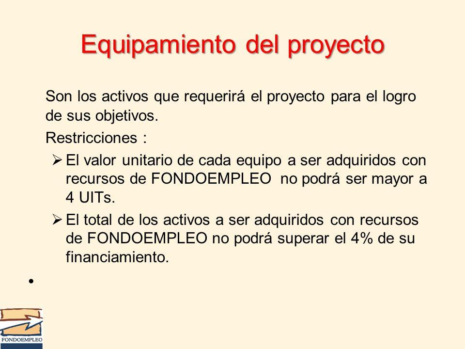 Equipamiento del proyecto Son los activos que requerirá el proyecto para el logro de sus objetivos. Restricciones : El valor unitario de cada equipo a
