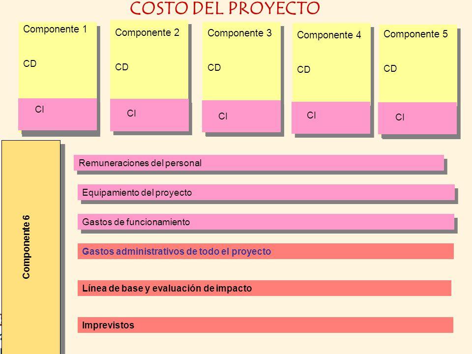Remuneraciones del personal Equipamiento del proyecto Gastos de funcionamiento Gastos administrativos de todo el proyecto Línea de base y evaluación d