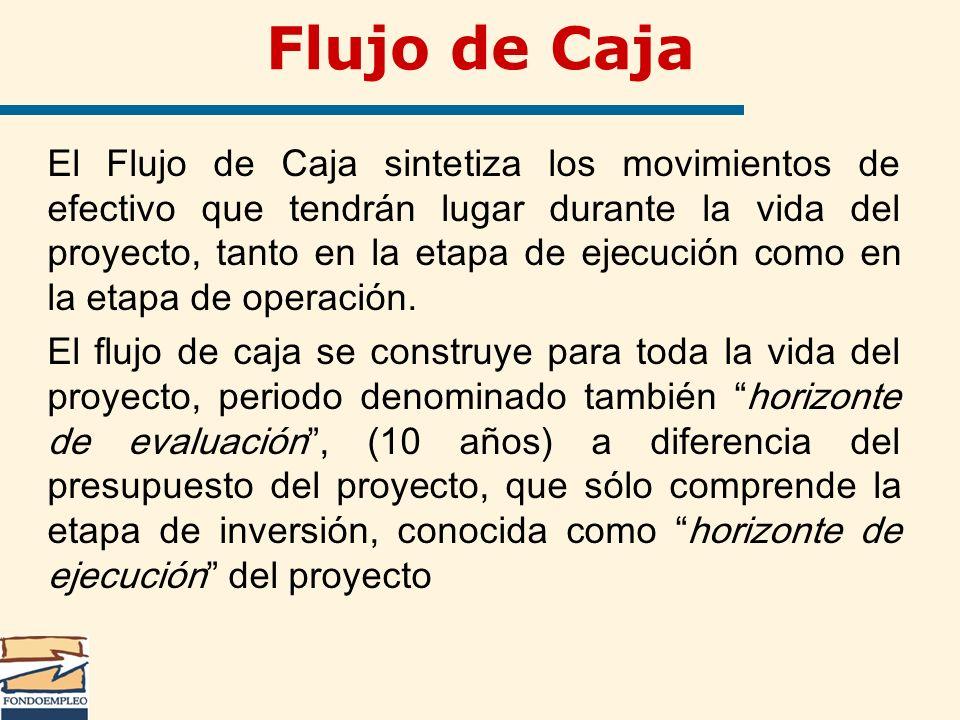 Flujo de Caja El Flujo de Caja sintetiza los movimientos de efectivo que tendrán lugar durante la vida del proyecto, tanto en la etapa de ejecución co
