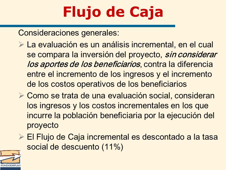 Flujo de Caja Consideraciones generales: La evaluación es un análisis incremental, en el cual se compara la inversión del proyecto, sin considerar los