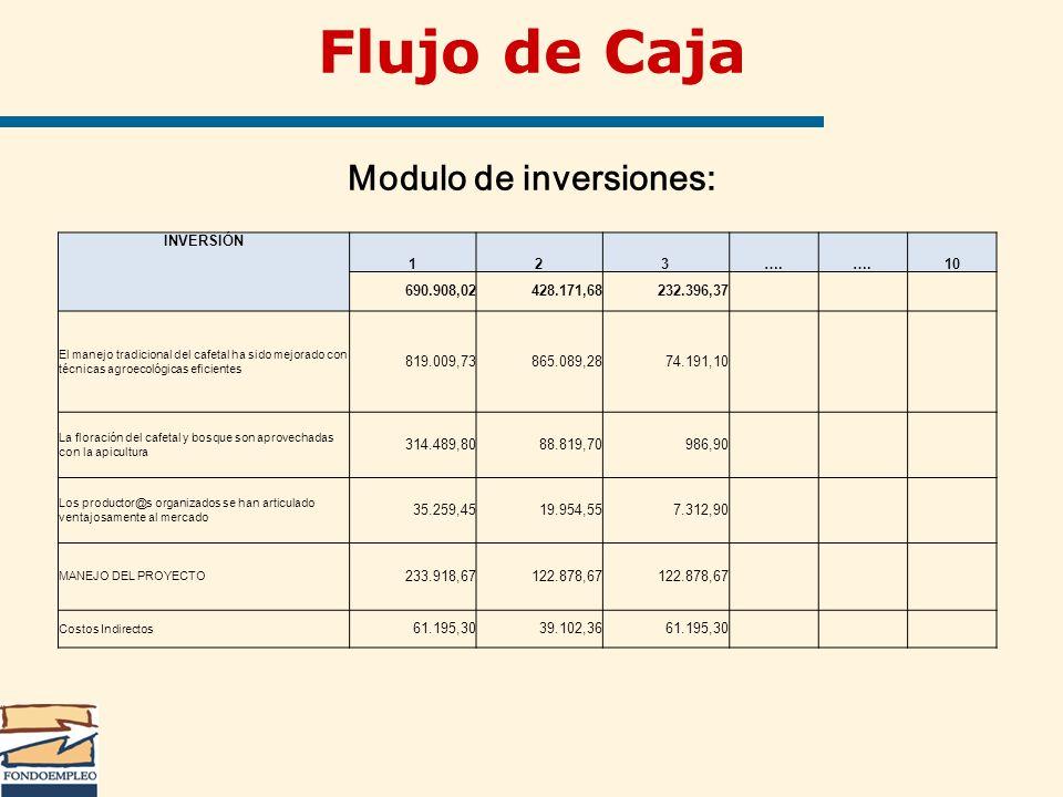 Flujo de Caja Modulo de inversiones: INVERSIÓN 123…. 10 690.908,02428.171,68232.396,37 El manejo tradicional del cafetal ha sido mejorado con técnicas