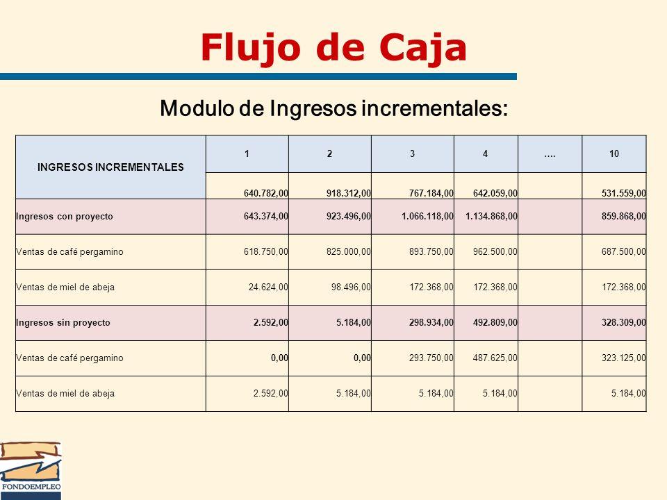 Flujo de Caja Modulo de Ingresos incrementales: INGRESOS INCREMENTALES 1234….10 640.782,00918.312,00767.184,00642.059,00 531.559,00 Ingresos con proye
