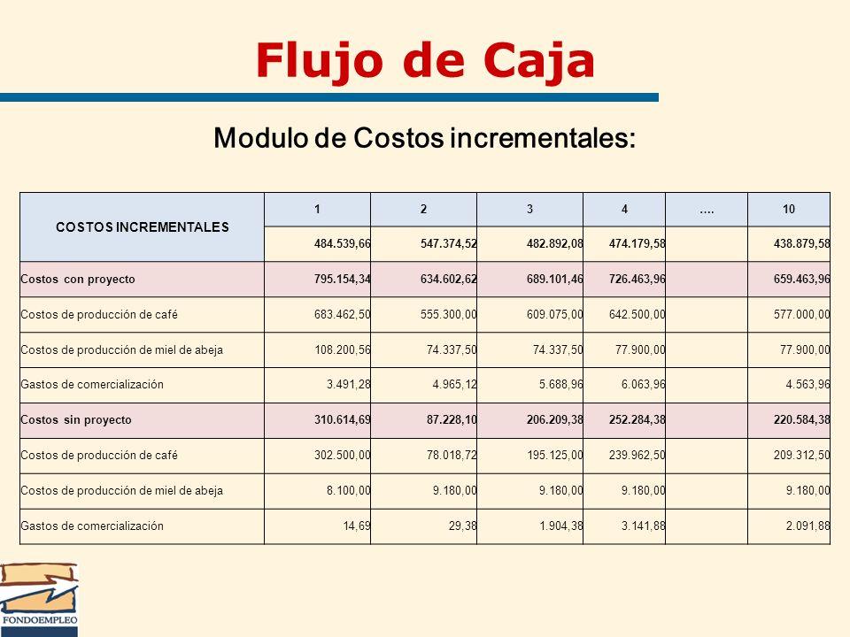 Flujo de Caja Modulo de Costos incrementales: COSTOS INCREMENTALES 1234….10 484.539,66547.374,52482.892,08474.179,58 438.879,58 Costos con proyecto795