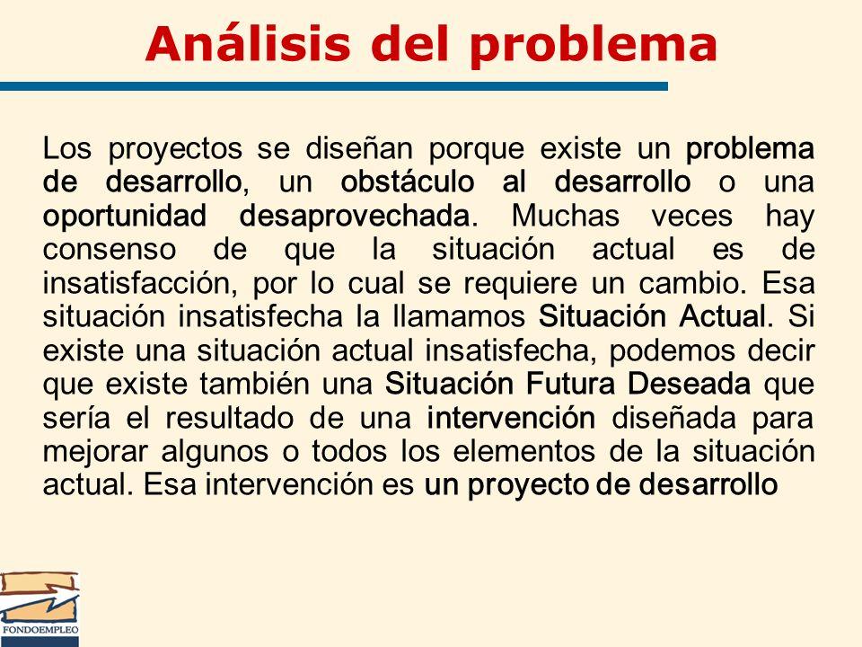 Análisis del problema Los proyectos se diseñan porque existe un problema de desarrollo, un obstáculo al desarrollo o una oportunidad desaprovechada. M