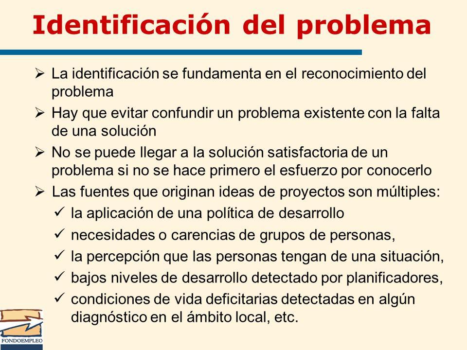 Identificación del problema La identificación se fundamenta en el reconocimiento del problema Hay que evitar confundir un problema existente con la fa