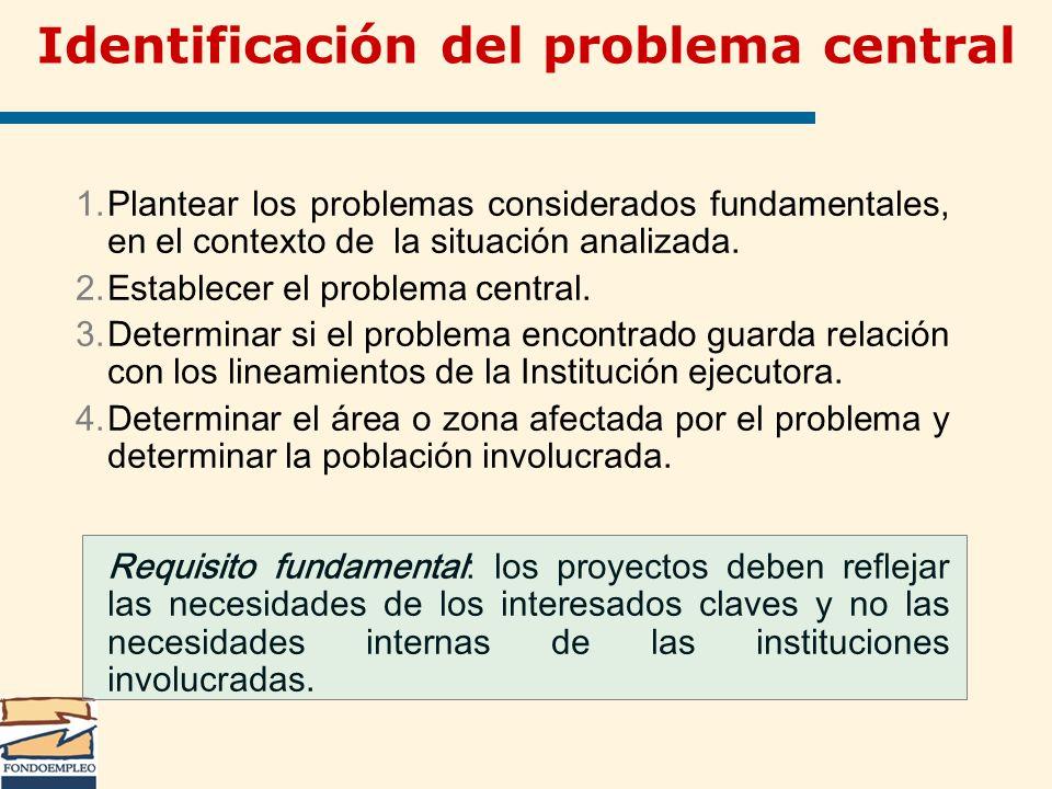 Identificación del problema central 1.Plantear los problemas considerados fundamentales, en el contexto de la situación analizada. 2.Establecer el pro