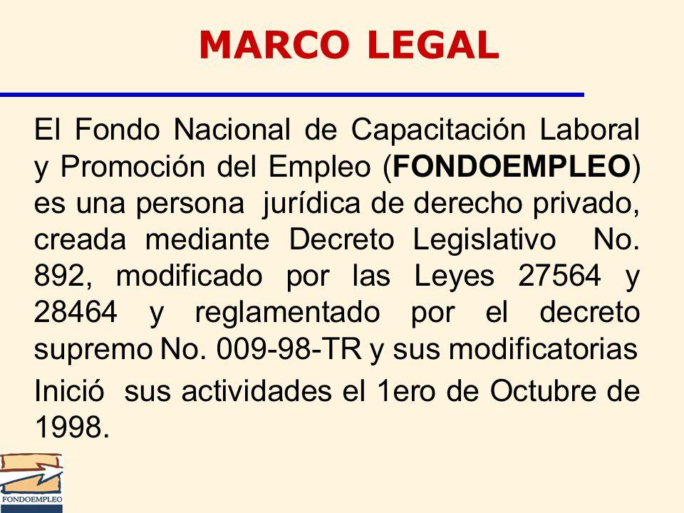 MARCO LEGAL El Fondo Nacional de Capacitación Laboral y Promoción del Empleo (FONDOEMPLEO) es una persona jurídica de derecho privado, creada mediante