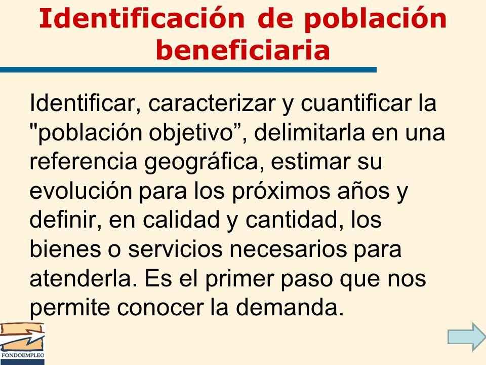 Identificación de población beneficiaria Identificar, caracterizar y cuantificar la