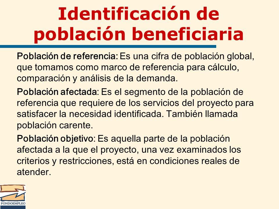 Identificación de población beneficiaria Población de referencia: Es una cifra de población global, que tomamos como marco de referencia para cálculo,