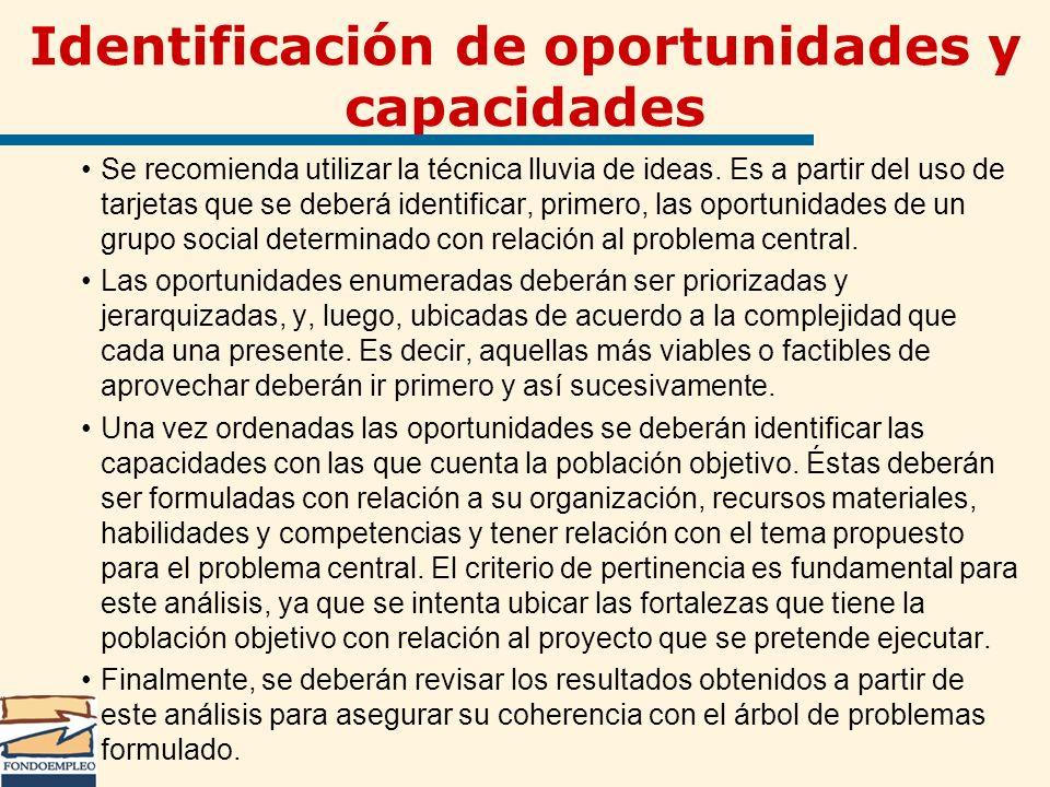 Identificación de oportunidades y capacidades Se recomienda utilizar la técnica lluvia de ideas. Es a partir del uso de tarjetas que se deberá identif
