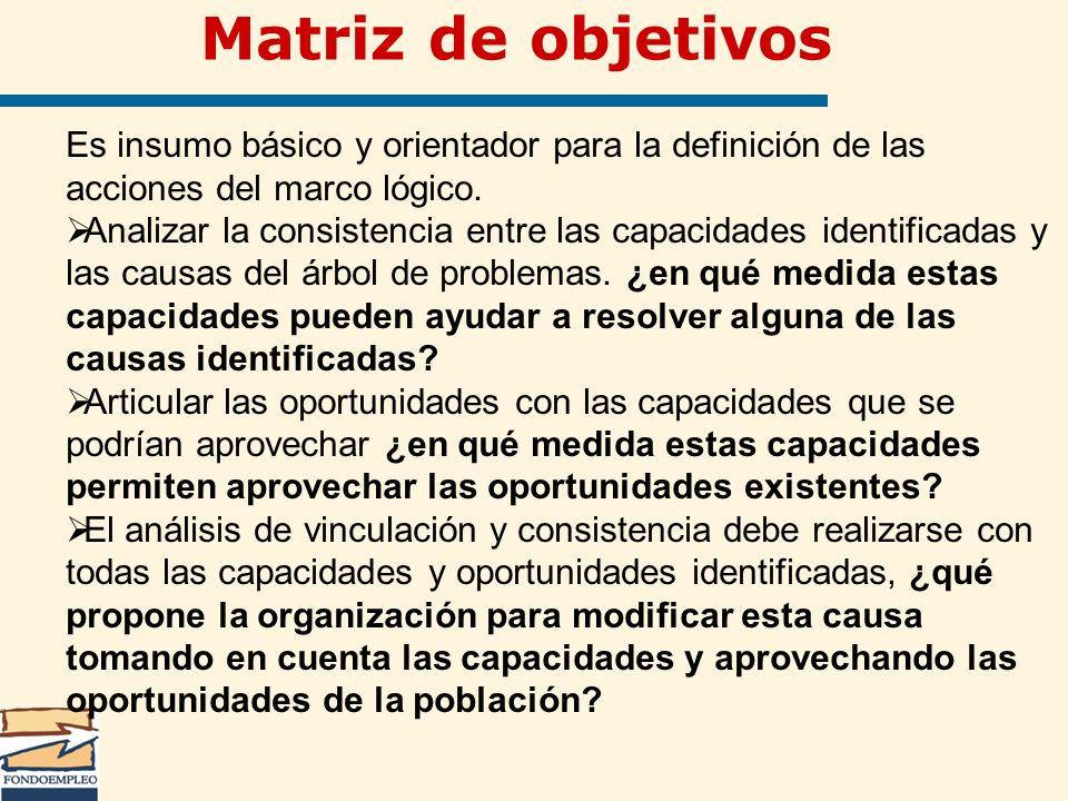 Es insumo básico y orientador para la definición de las acciones del marco lógico. Analizar la consistencia entre las capacidades identificadas y las