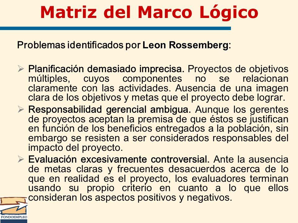 Matriz del Marco Lógico Leon Rossemberg Problemas identificados por Leon Rossemberg : Planificación demasiado imprecisa. Proyectos de objetivos múltip