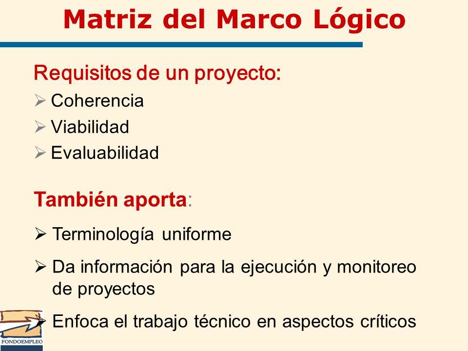 Matriz del Marco Lógico Requisitos de un proyecto: Coherencia Viabilidad Evaluabilidad También aporta: Terminología uniforme Da información para la ej
