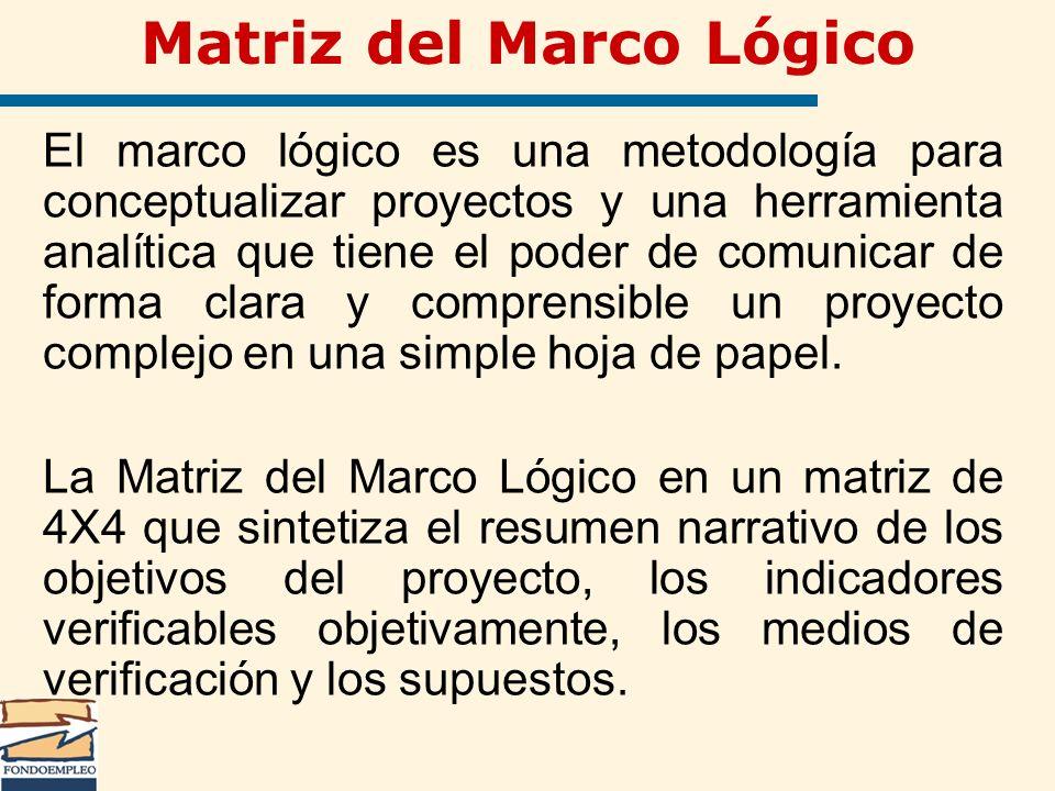 Matriz del Marco Lógico El marco lógico es una metodología para conceptualizar proyectos y una herramienta analítica que tiene el poder de comunicar d