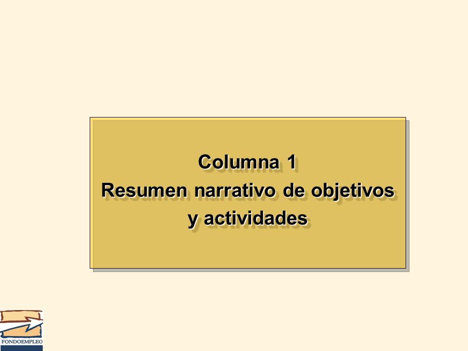 Columna 1 Resumen narrativo de objetivos y actividades Columna 1 Resumen narrativo de objetivos y actividades