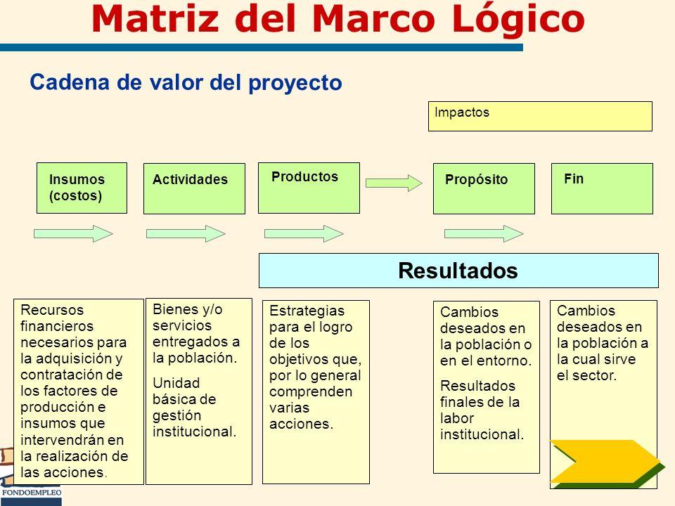 Cadena de valor del proyecto Insumos (costos) Actividades Productos Propósito Fin Bienes y/o servicios entregados a la población. Unidad básica de ges