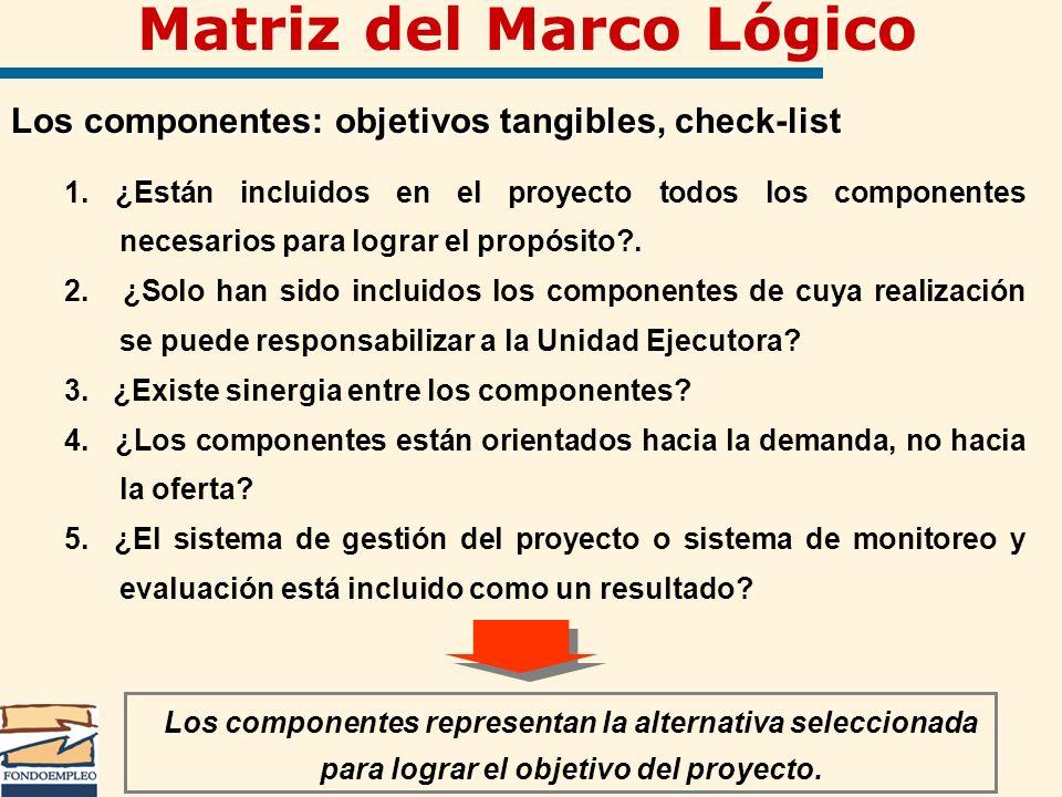 Matriz del Marco Lógico Los componentes: objetivos tangibles, check-list 1. ¿Están incluidos en el proyecto todos los componentes necesarios para logr