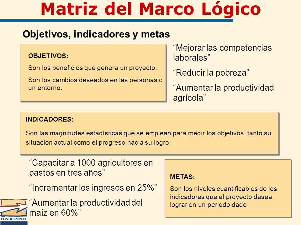 Matriz del Marco Lógico Objetivos, indicadores y metas Objetivos, indicadores y metas OBJETIVOS: Son los beneficios que genera un proyecto. Son los ca