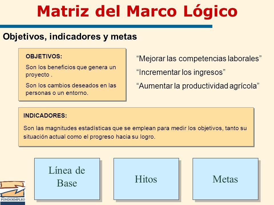Metas Matriz del Marco Lógico Objetivos, indicadores y metas OBJETIVOS: Son los beneficios que genera un proyecto. Son los cambios deseados en las per