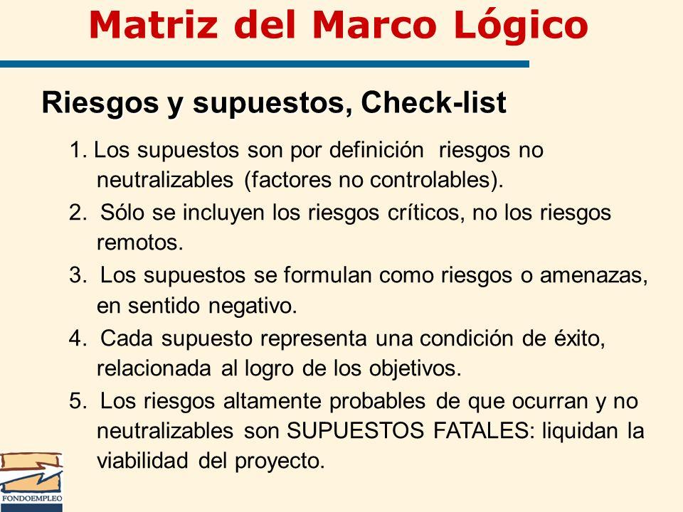 Matriz del Marco Lógico Riesgos y supuestos, Check-list 1. Los supuestos son por definición riesgos no neutralizables (factores no controlables). 2. S