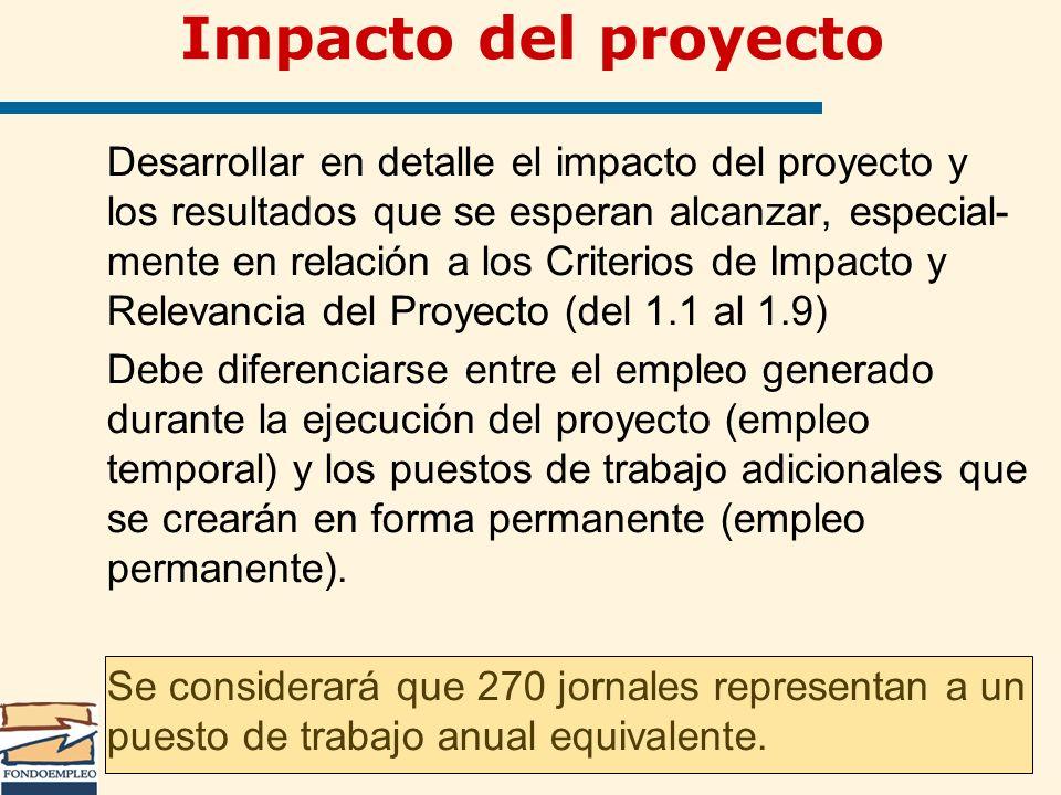 Desarrollar en detalle el impacto del proyecto y los resultados que se esperan alcanzar, especial- mente en relación a los Criterios de Impacto y Rele