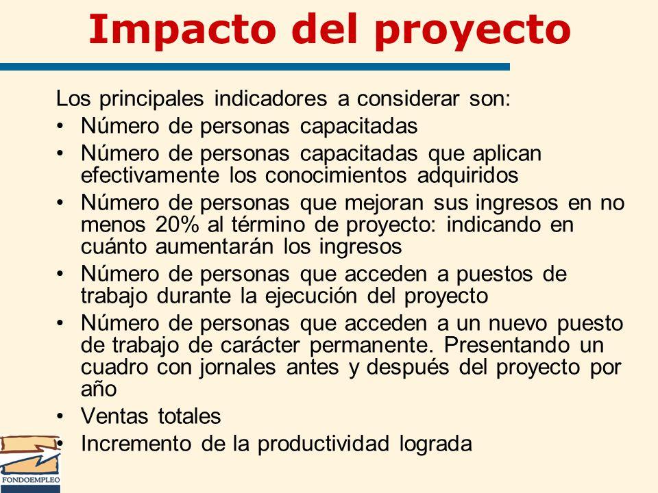 Impacto del proyecto Los principales indicadores a considerar son: Número de personas capacitadas Número de personas capacitadas que aplican efectivam