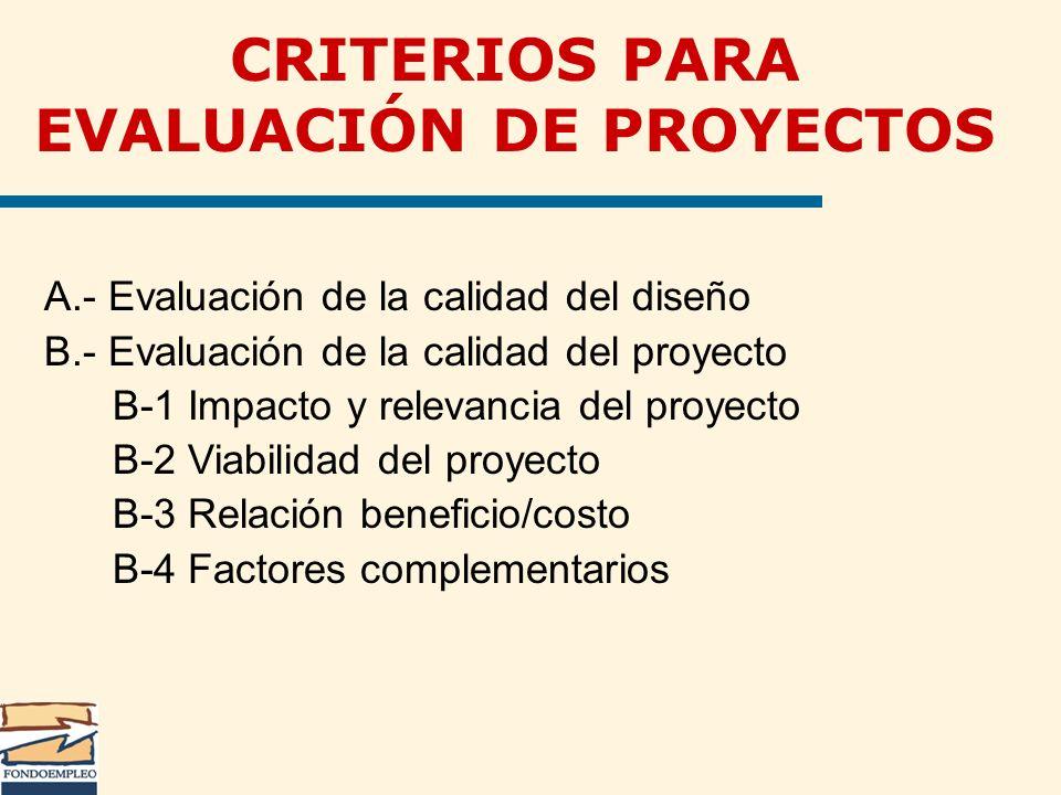 CRITERIOS PARA EVALUACIÓN DE PROYECTOS A.- Evaluación de la calidad del diseño B.- Evaluación de la calidad del proyecto B-1 Impacto y relevancia del