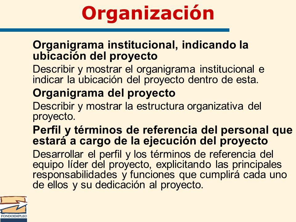 Organización Organigrama institucional, indicando la ubicación del proyecto Describir y mostrar el organigrama institucional e indicar la ubicación de
