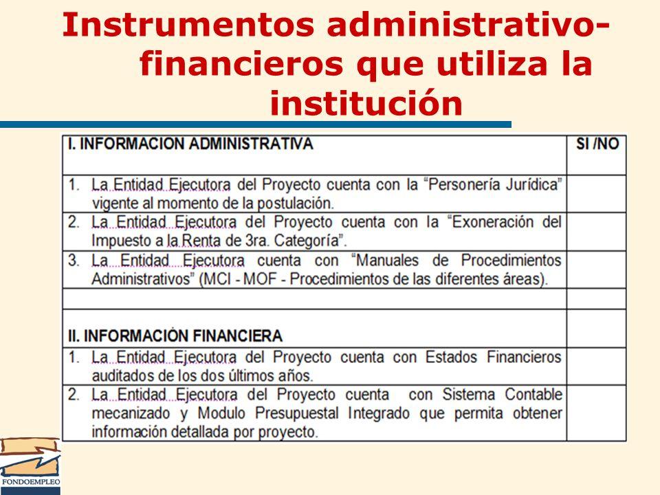 Instrumentos administrativo- financieros que utiliza la institución