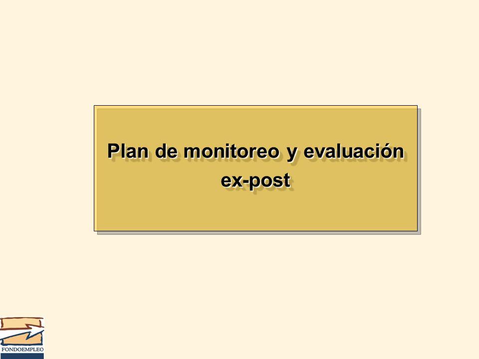 Plan de monitoreo y evaluación ex-post