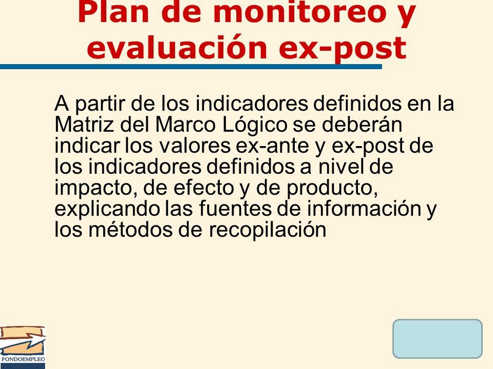 A partir de los indicadores definidos en la Matriz del Marco Lógico se deberán indicar los valores ex-ante y ex-post de los indicadores definidos a ni