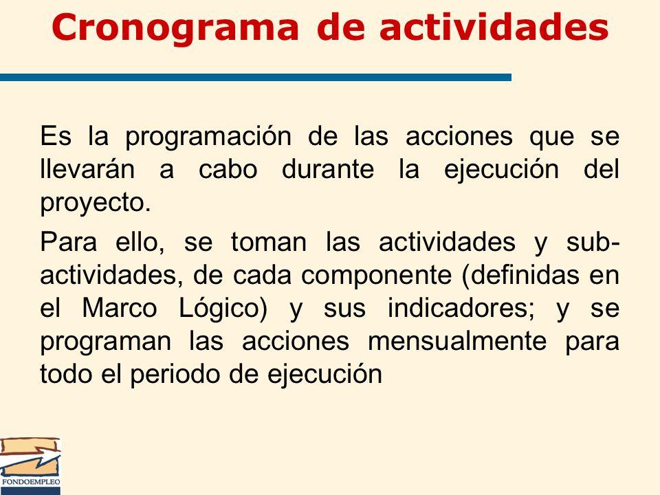Es la programación de las acciones que se llevarán a cabo durante la ejecución del proyecto. Para ello, se toman las actividades y sub- actividades, d