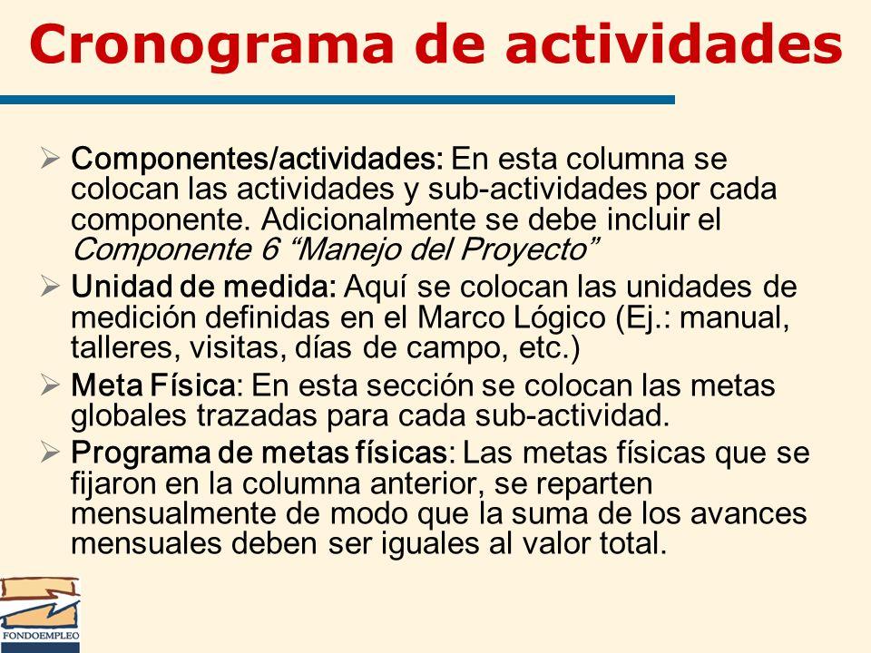 Cronograma de actividades Componentes/actividades: En esta columna se colocan las actividades y sub-actividades por cada componente. Adicionalmente se