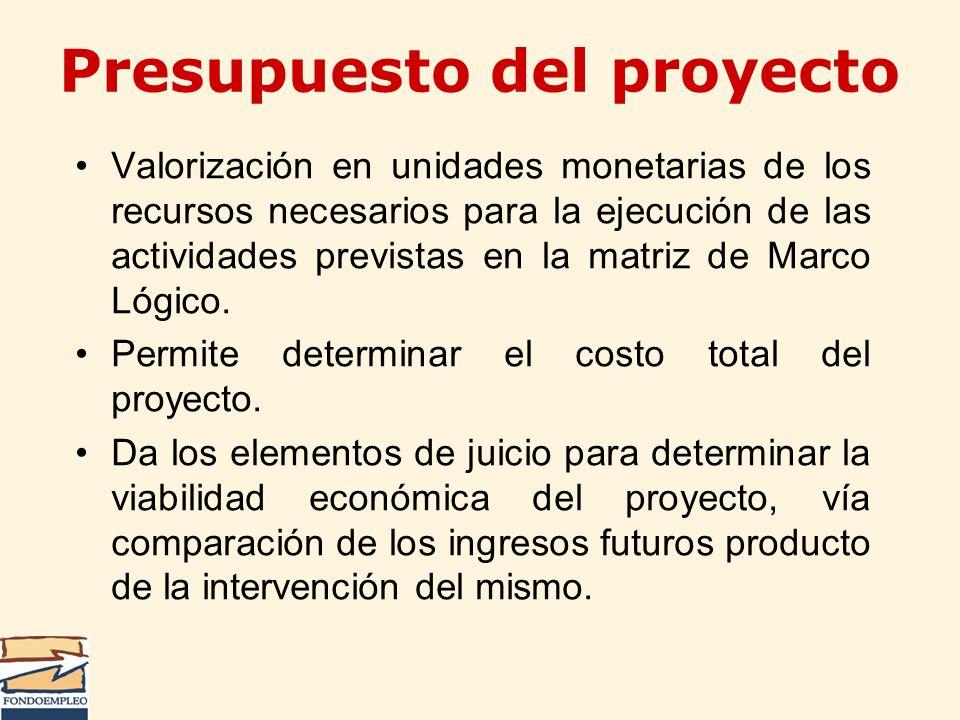 Valorización en unidades monetarias de los recursos necesarios para la ejecución de las actividades previstas en la matriz de Marco Lógico. Permite de