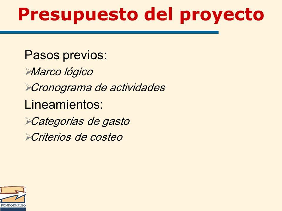 Presupuesto del proyecto Pasos previos: Marco lógico Cronograma de actividades Lineamientos: Categorías de gasto Criterios de costeo