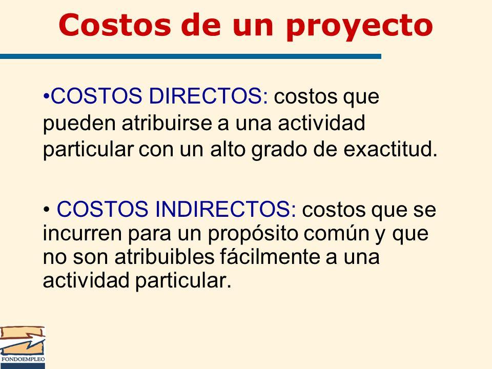 Costos de un proyecto COSTOS DIRECTOS: costos que pueden atribuirse a una actividad particular con un alto grado de exactitud. COSTOS INDIRECTOS: cost