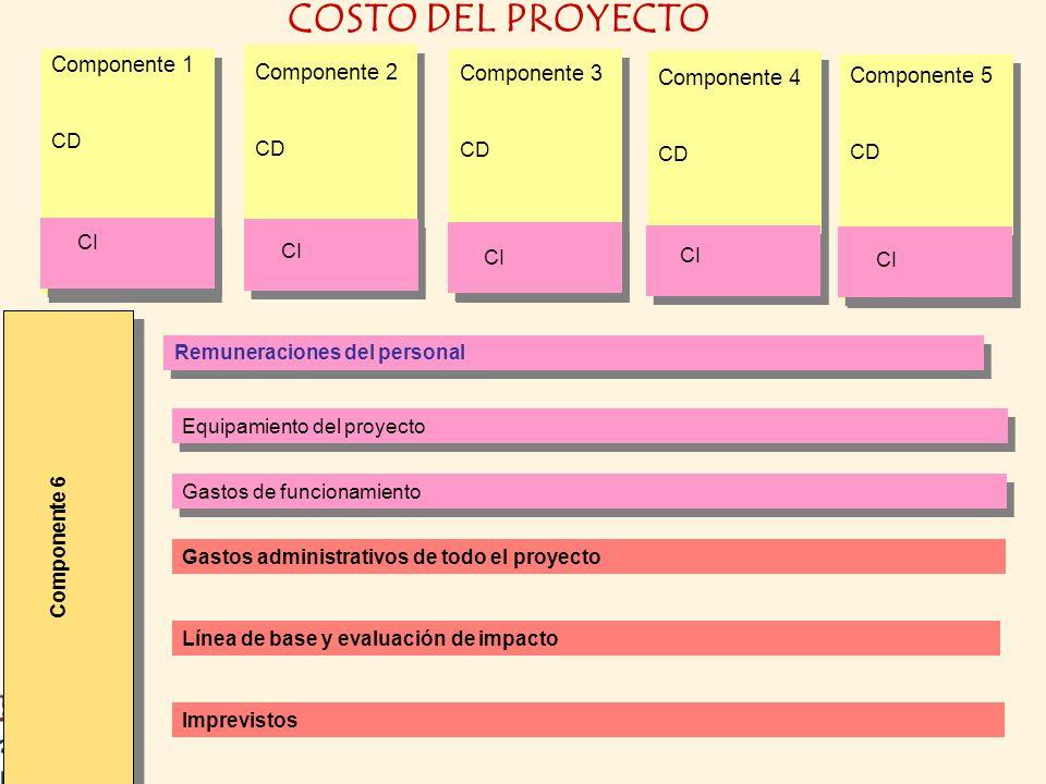 Equipamiento del proyecto Remuneraciones del personal Gastos de funcionamiento Gastos administrativos de todo el proyecto Línea de base y evaluación d