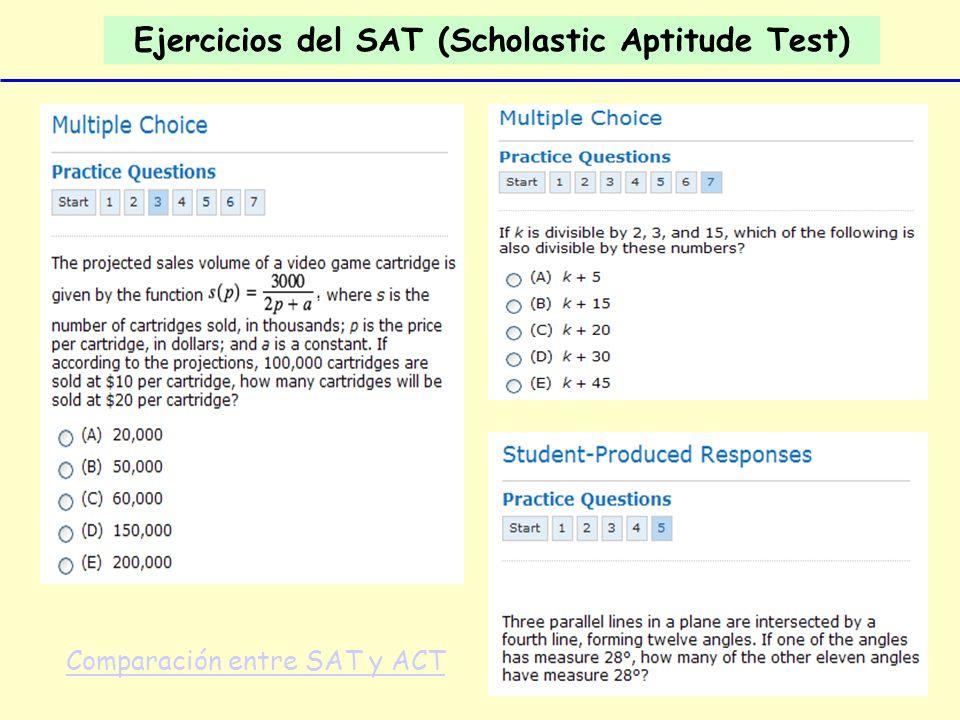 Ejercicios del SAT (Scholastic Aptitude Test) Comparación entre SAT y ACT