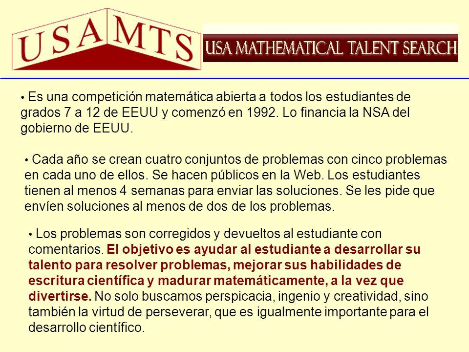 Es una competición matemática abierta a todos los estudiantes de grados 7 a 12 de EEUU y comenzó en 1992. Lo financia la NSA del gobierno de EEUU. Cad
