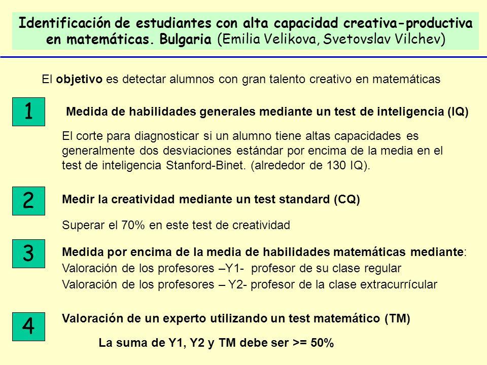 Identificación de estudiantes con alta capacidad creativa-productiva en matemáticas. Bulgaria (Emilia Velikova, Svetovslav Vilchev) El objetivo es det
